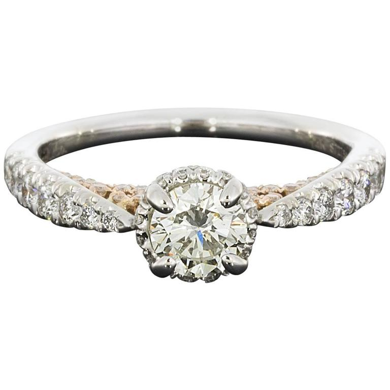 White and Rose Gold Round Diamond Halo Engagement Ring For Sale
