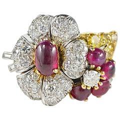1960s Ruby Diamond Flower Platinum Gold Ring