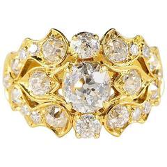 Art Deco Signed Ventrella 2.75 Carat Diamond Gold Ring