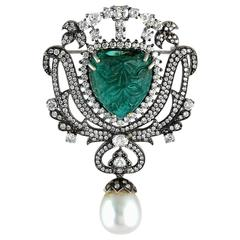 Carved Emerald and Diamond Brooch Pendant