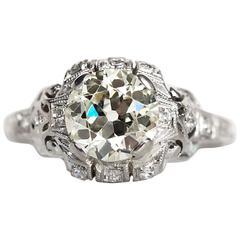 1930s Art Deco Platinum 1.60 Carat Old European Cut Diamond Engagement Ring