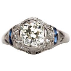 1920s Art Deco Platinum 1.09 Carat Diamond Engagement Ring with Sapphires