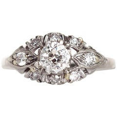 1920s Art Deco Platinum GIA Certified .53 Carat Diamond Engagement Ring