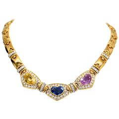 28.00 Ct Sapphire and Diamond Necklace