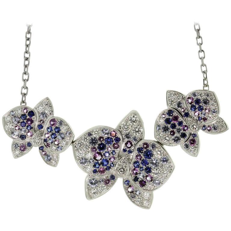 CARTIER Caresse D'Orchidees Diamond Sapphire Amethyst Necklace 1