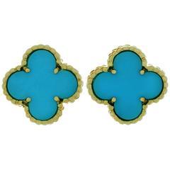 VAN CLEEF & ARPELS Alhambra Turquoise Yellow Gold Earrings
