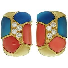 VAN CLEEF & ARPELS Diamond Blue Pink Agate Yellow Gold Clip-on Earrings