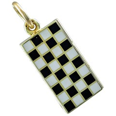 Gold and Enamel Game Board Charm