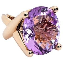 Colleen B. Rosenblat Amethyst Rose Gold Cocktail Ring
