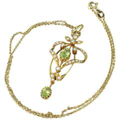 Art Nouveau Peridot & Seed Pearl Pendant, circa 1900