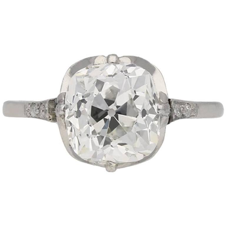 Antique English old mine diamond solitaire ring For Sale