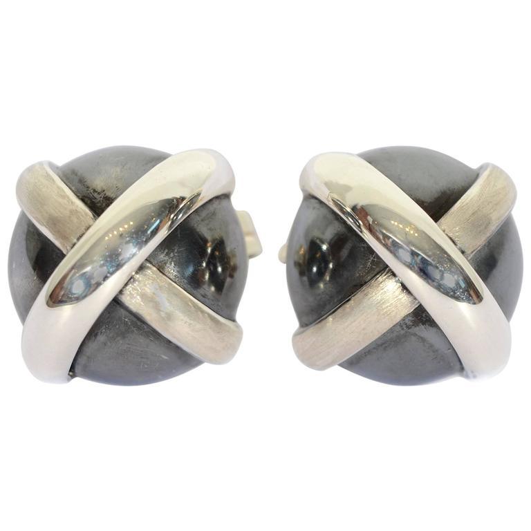 Oxidized Silver Domed Crisscross Earrings