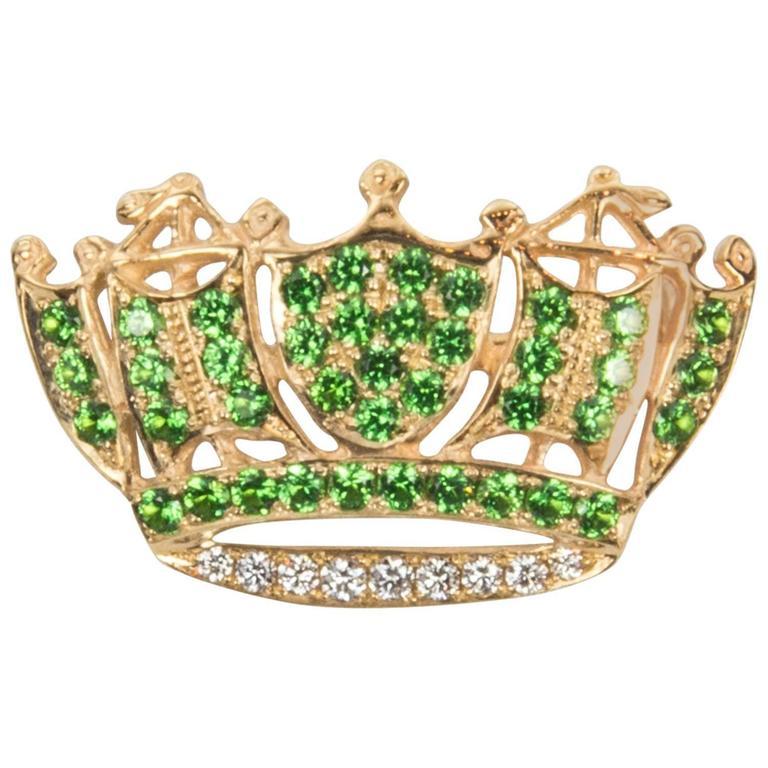 Diamond and Green Tsavorite Garnet Crown Brooch Pin