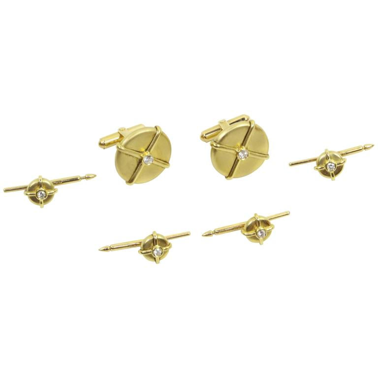 Button Cufflinks and Shirt Stud Dress Set in Diamonds and Gold For Sale