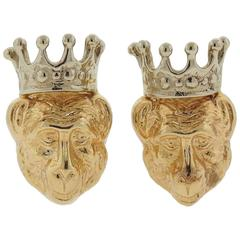 Whimsical Tony Duquette Gold Monkey in Crown Cufflinks