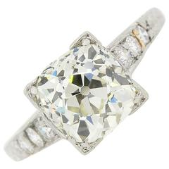 Certified 2.67 carat Old European Cut Diamond Platinum Ring