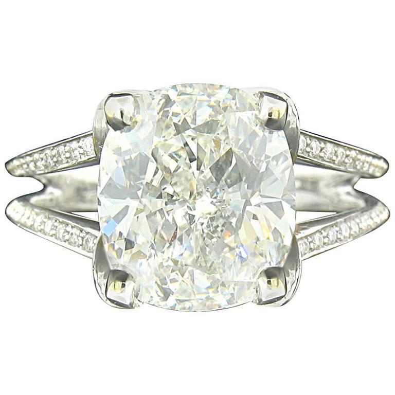 5.01ct Cushion Diamond Ring For Sale