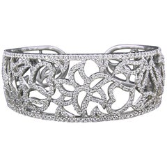 Floral Diamond Pave Cuff by Charles Wolfe