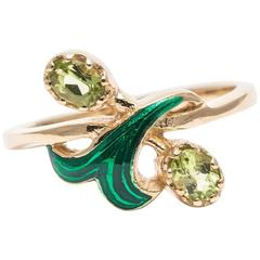 Peridot and Enamel Flower Ring in Yellow Gold