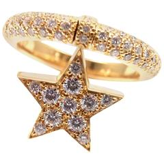 CHANEL Comete Diamond Star Yellow Gold Band Ring