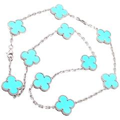Van Cleef & Arpels Vintage Alhambra Turquoise White Gold Necklace