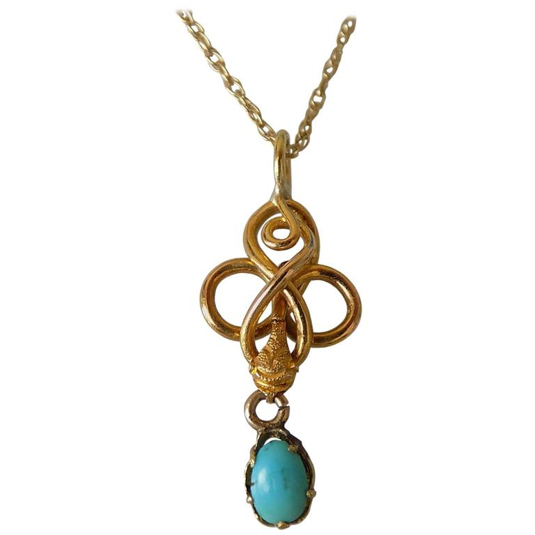 Victorian gold turquoise snake pendant necklace at 1stdibs victorian gold turquoise snake pendant necklace for sale aloadofball Images