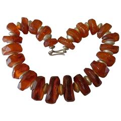 Antique Faceted Baltic Amber and Silver beads necklace
