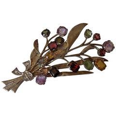Retro Multi Gem Silver Bouquet brooch
