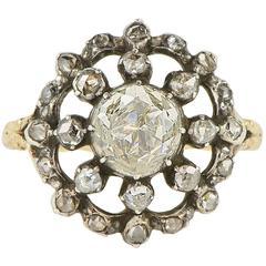 Antique Georgian 2.0 Carat Rose Cut Diamond Gold Ring