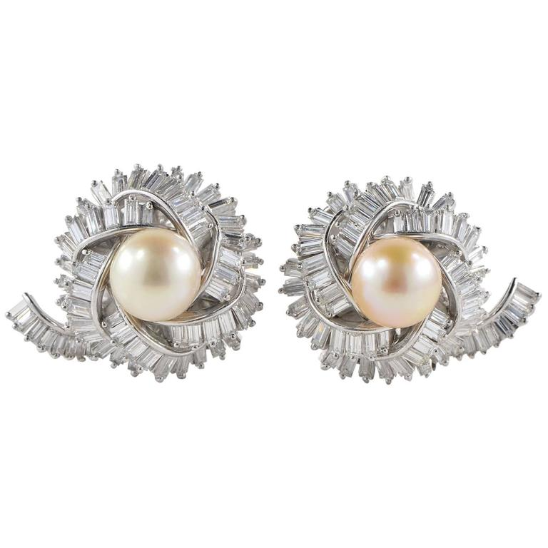 Magnificent 1950s Diamond Round Pearl Platinum Earclips
