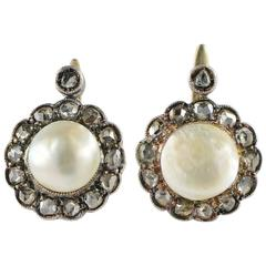 Antique Victorian Natural Pearl Diamond Gold Earrings