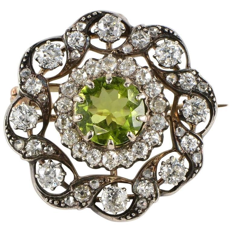 Victorian Natural Peridot Diamond Gold Pendant Brooch