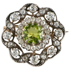 Victorian Natural Peridot Diamond Gold Pendant Brooch