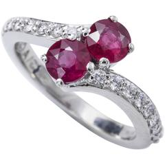 Ever-Us Two Ruby's Solitaire Crossover Diamond Ring
