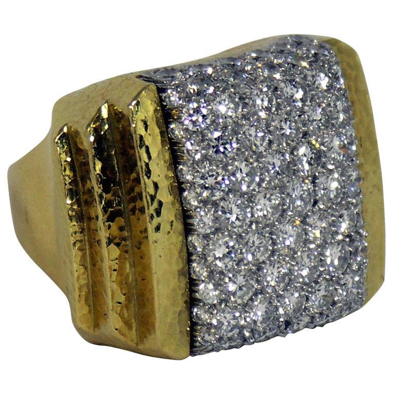 David Webb Large Scale Diamond Gold Ring