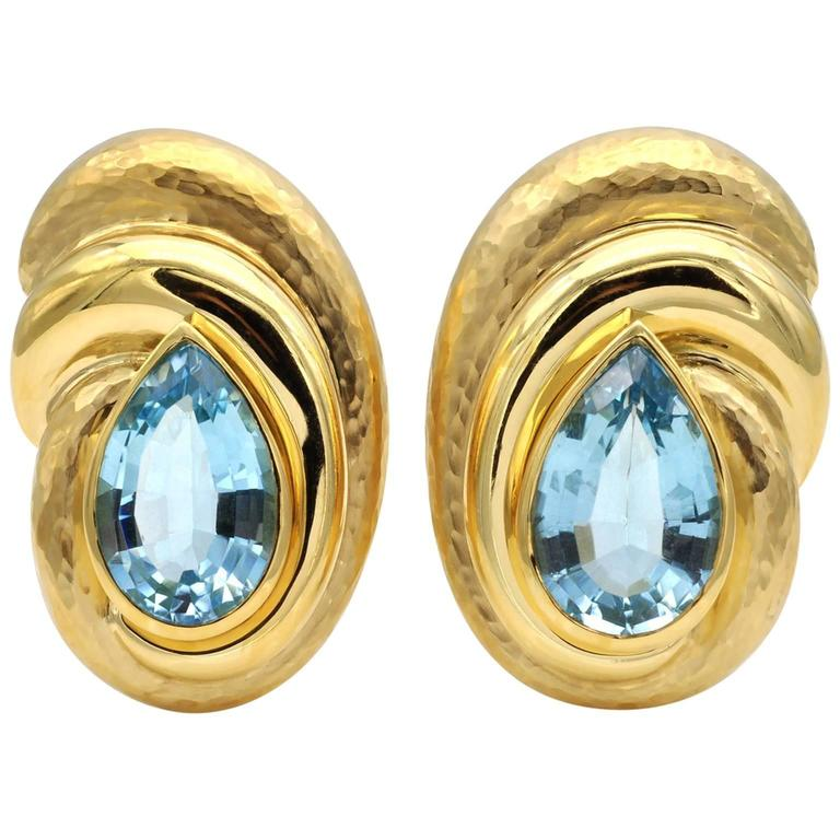 Blue Topaz Hammered Gold Clip-On Earring