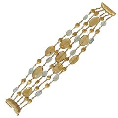 Marco Bicego  Signature Gold Nugget  Multi-Strand Stone Bracelet