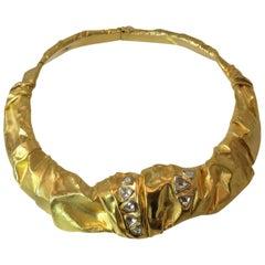 Diamond Rose Cut Diamond Hinged Gold Collar Necklace