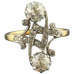 """You and Me"" Art Nouveau Ring in 18 kt Gold with 2 Diamonds of 0.6 ct I/VS"
