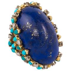 1970s Kutchinsky Gold, Diamond, Turquoise and Lapis Lazuli Cocktail Ring