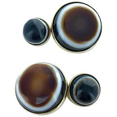 Contemporary Brown and White Onyx and Gold Cufflinks