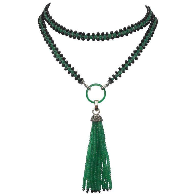 Marina J. Woven Black Spinel Green Onyx Diamond Lariat Necklace