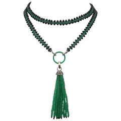 Marina J. Woven Black Spinel Green Onyx Diamond Lariat Necklace