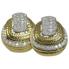 David Webb Gold and Diamond Earrings