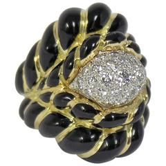 David Webb Gold, Black Enamel and Diamond Ring