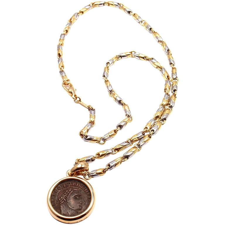 Bulgari ancient roman coin pendant yellow gold and stainless steel bulgari ancient roman coin pendant yellow gold and stainless steel link necklace for sale mozeypictures Image collections
