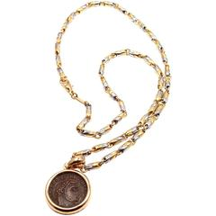 Bulgari Ancient Roman Coin Pendant Yellow Gold And Stainless Steel Link Necklace