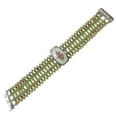 Marina J. Woven Peridot, Ruby, Silver, Bracelet, 1930s Enamel Centrepiece