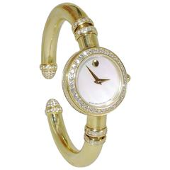 Movado Ladies Yellow Gold Diamond Bangle Bracelet Quartz Wristwatch