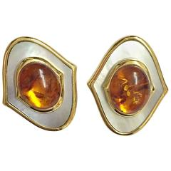 Natural Amber Grey Mother-of-Pearl Sterling Silver Earrings